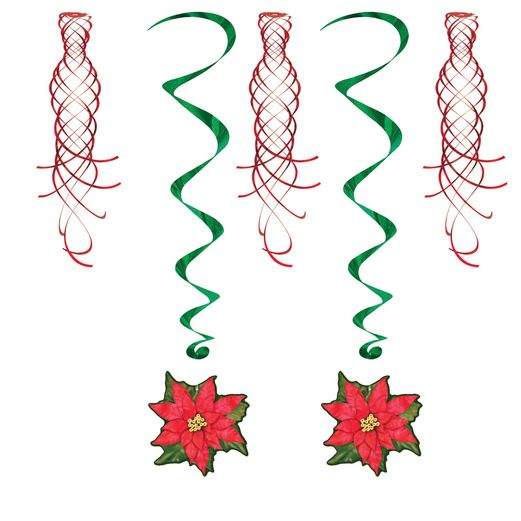 Christmas Decorations Poinsettia Shimmers & Whirls Image