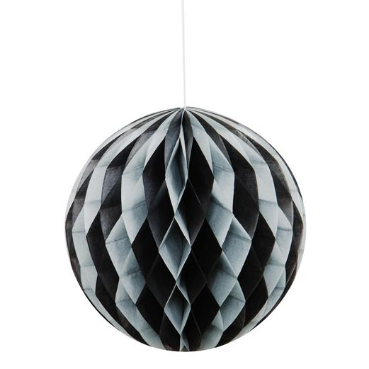 New Years Decorations Black and Silver Tissue Ball Image