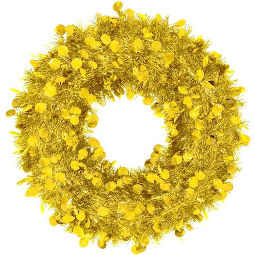 Christmas Decorations Jumbo Tinsel Gold Wreath Image