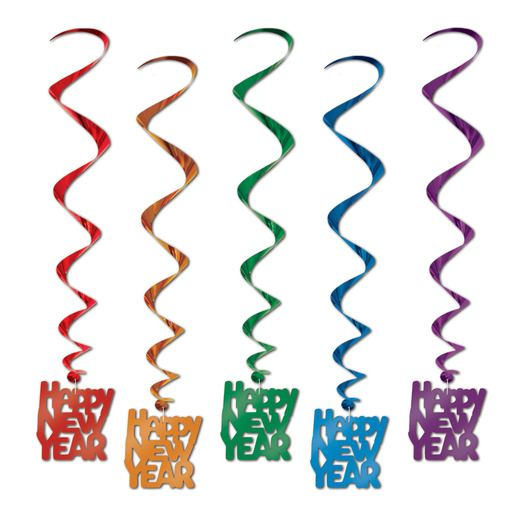 New Years Decorations Happy New Year Multicolor Whirls Image