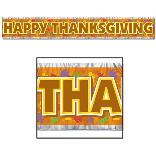 Thanksgiving Decorations Metallic Happy Thanksgiving Fringe Banner Image