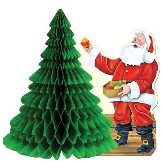 Christmas Decorations Santa with Tissue Tree Centerpiece Image