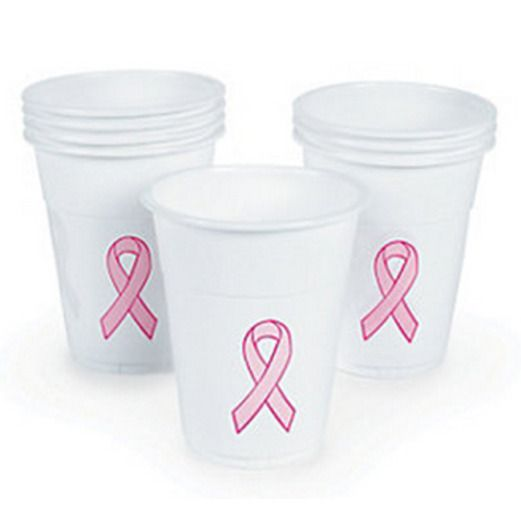 Table Accessories Pink Ribbon Plastic Cups Image
