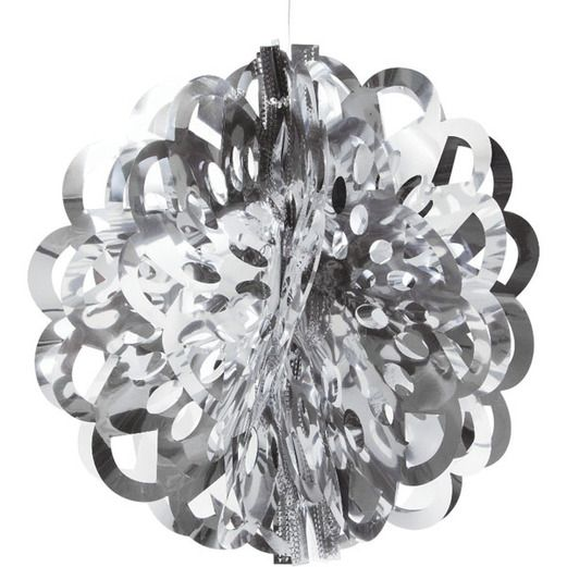 "New Years Decorations 16"" Silver Foil Ball Image"