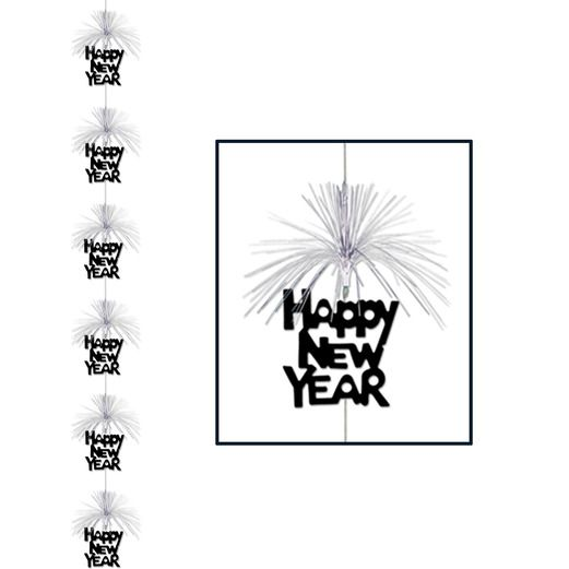New Years Decorations Black and Silver Happy New Year Firework Stringer Image