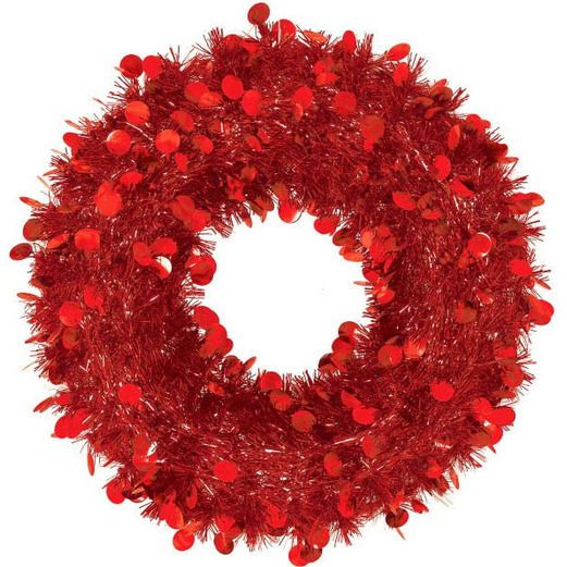 Christmas Decorations Jumbo Tinsel Red Wreath Image