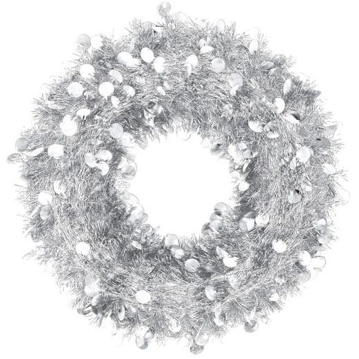 Christmas Decorations Jumbo Tinsel Silver Wreath Image