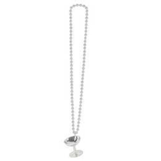 New Years Party Wear Silver Champagne Glass Bead Necklace Image