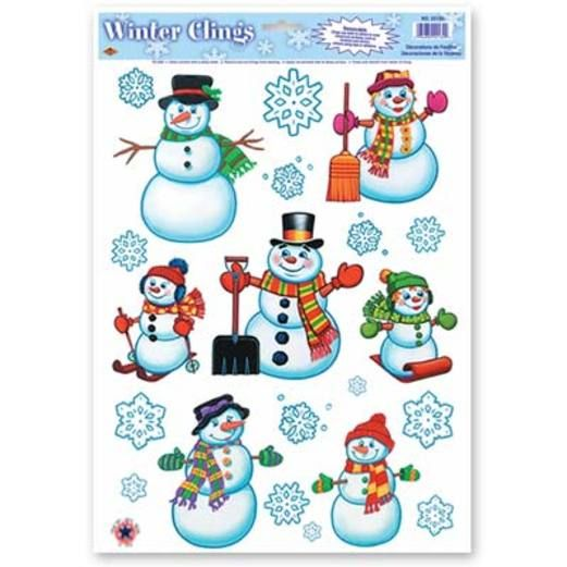Christmas Decorations Snowman and Snowflakes Clings Image