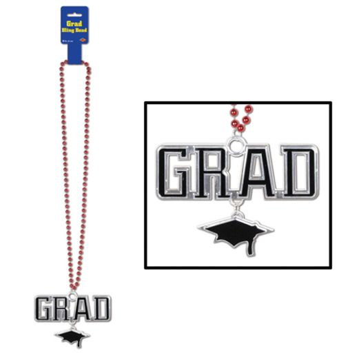Red Bead Necklace with Grad Medallion Image