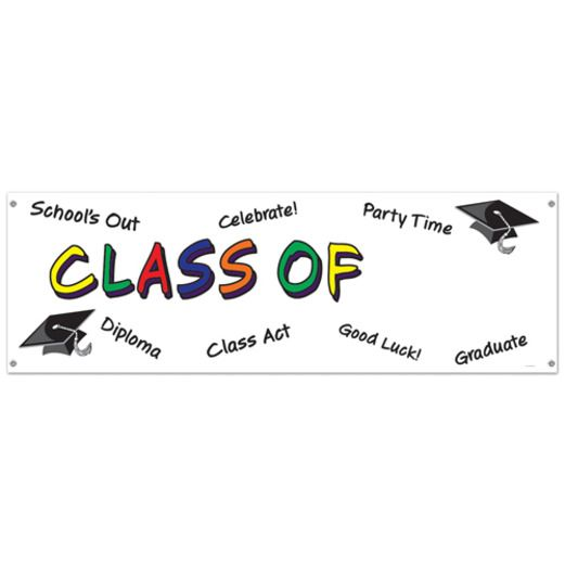 Graduation Decorations Class of Sign Banner Image