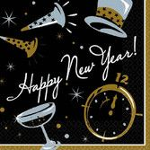 New Years Table Accessories Black Tie New Year's Beverage Napkins Image