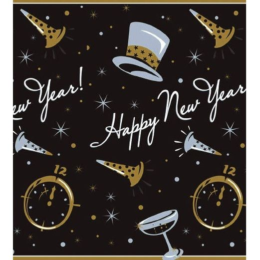 New Years Table Accessories Black Tie New Year's Paper Tablecovers Image