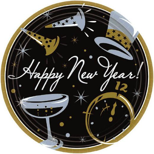 New Years Table Accessories Black Tie New Year's Lunch Plates Image