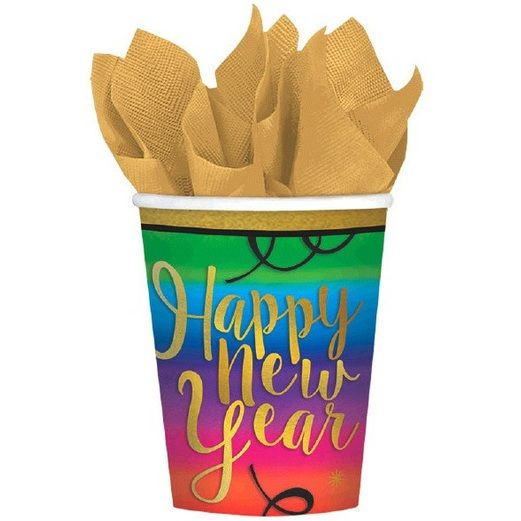 New Years Table Accessories Colorful New Year Cups Image