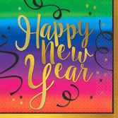 New Years Table Accessories Colorful New Year Beverage Napkins Image
