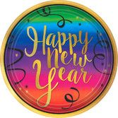 New Years Table Accessories Colorful New Year Dessert Plates Image