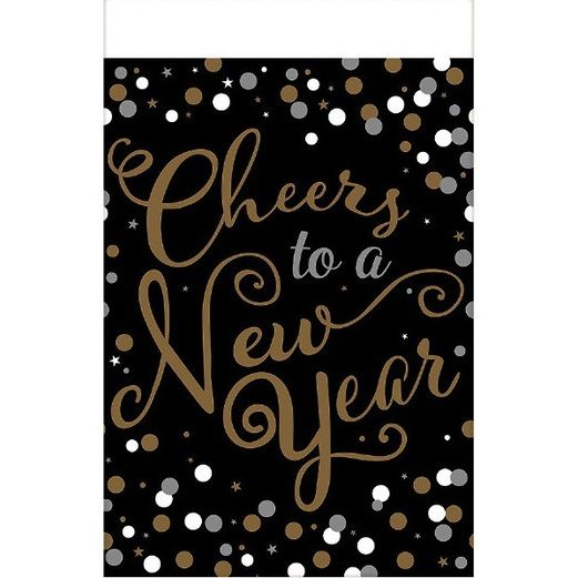 New Years Table Accessories Confetti Celebration Plastic Tablecover Image