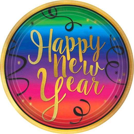 New Years Table Accessories Colorful New Year Dinner Plates Image