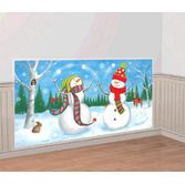 Decorations / Scenes & Props Whimsical Snowman Backdrop Image