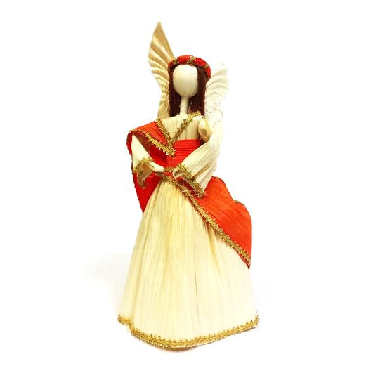 Christmas Decorations Cornhusk Medium Angel Image
