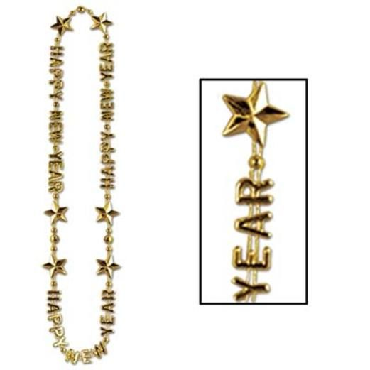 New Years Party Wear Gold Happy New Year Bead Necklace Image