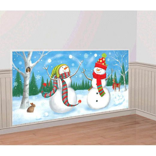 Christmas Decorations Whimsical Snowman Backdrop Image