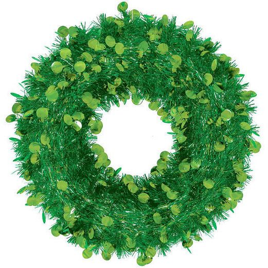 Christmas Decorations Jumbo Tinsel Green Wreath Image