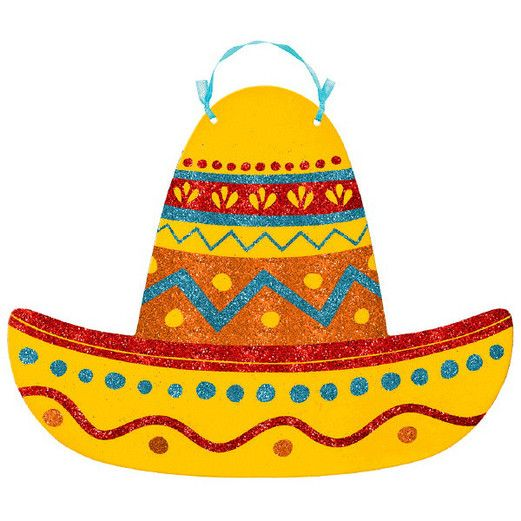Fiesta Decorations Glittered Sombrero Sign Image