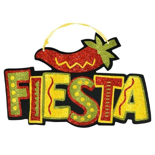 Fiesta Decorations Glittered Fiesta Sign Image
