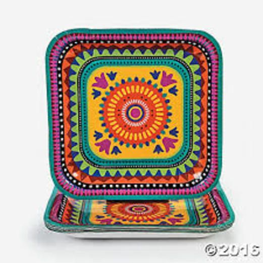 Cinco de Mayo Table Accessories Fiesta Square Dinner Plates Image