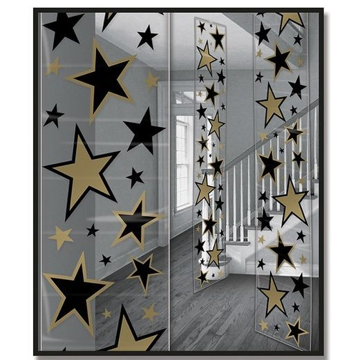 Awards Night & Hollywood Decorations Black and Gold Star Party Panels Image