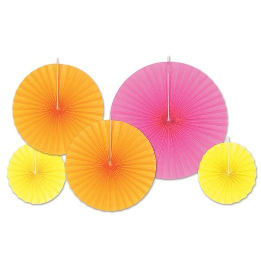 Fiesta Decorations Hot Pink, Orange, and Yellow Paper Fans  Image