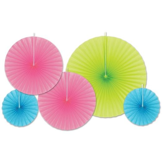 Fiesta Decorations Hot Pink, Light Green, and Turquoise Paper Fans  Image