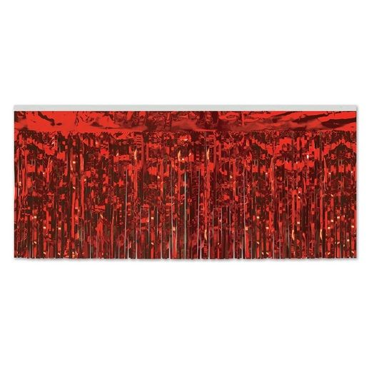 Christmas Table Accessories Red Metallic Fringe Table Skirt Image