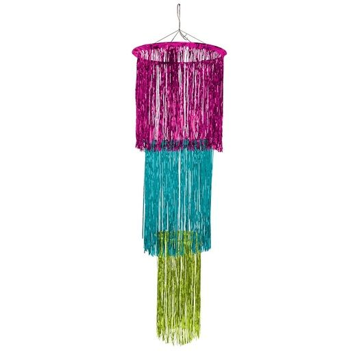 Decorations Hot Pink, Light Green, & Turquoise 3 Tier Chandelier Image