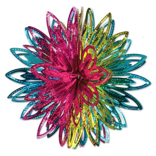 Hot Pink, Light Green, and Turquoise Metallic Starburst