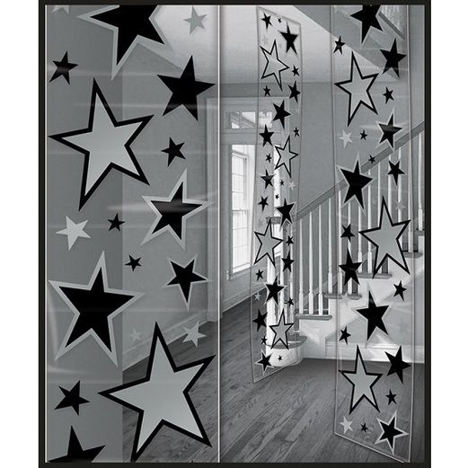 Awards Night & Hollywood Decorations Black and Silver Star Party Panels Image