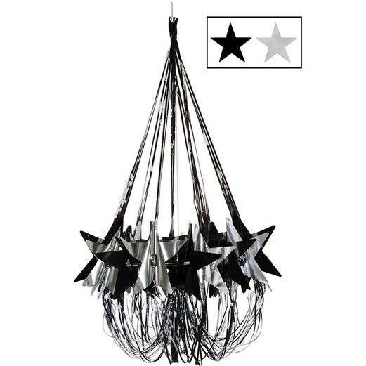 New Years Decorations Black and Silver Star Chandelier Image