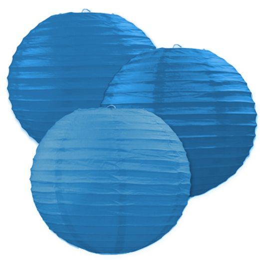 Luau Decorations Blue Paper Lanterns Image