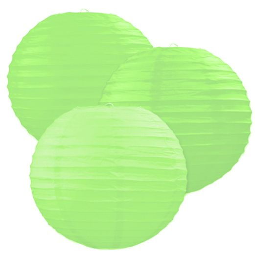 Luau Decorations Lime Green Paper Lanterns Image