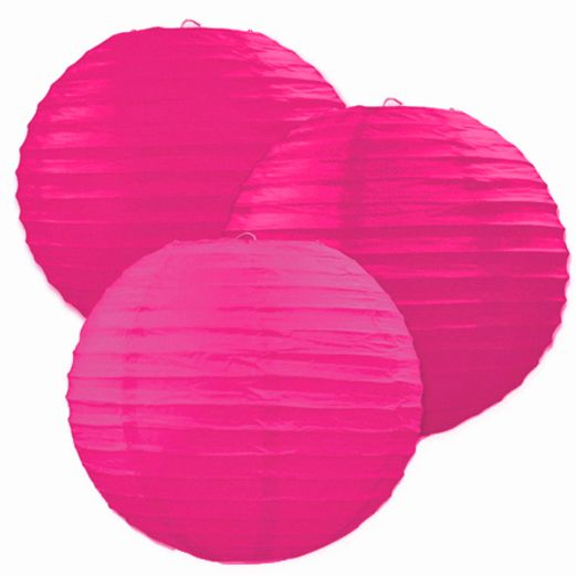 Fifties Decorations Hot Pink Paper Lanterns Image