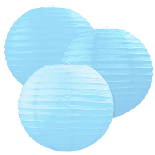 Baby Shower Decorations Light Blue Paper Lanterns Image