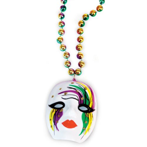 Mardi Gras Mime Bead Necklace