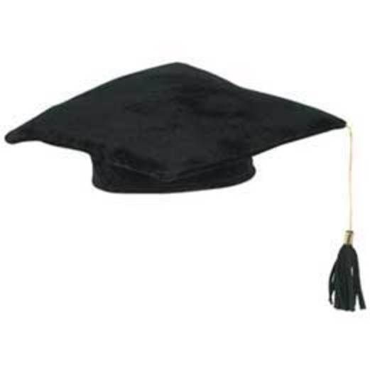 Graduation Hats & Headwear Black Plush Graduate Cap Image