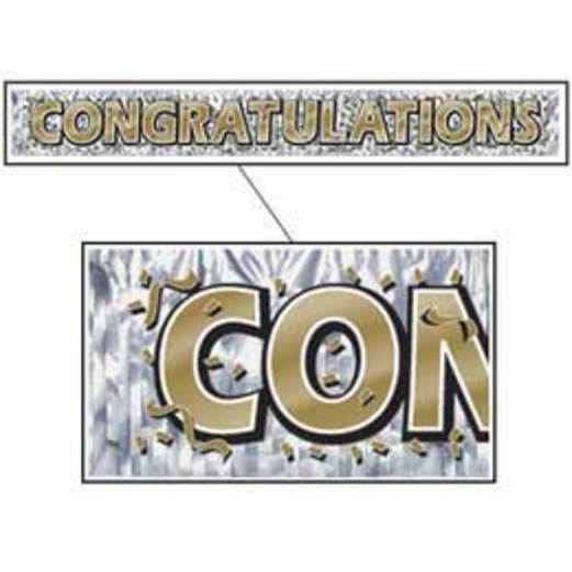 Graduation Decorations Congrats Fringe Banner Gold Image