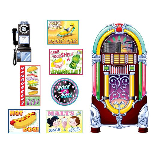 Fifties Decorations Signs and Jukebox Props Image