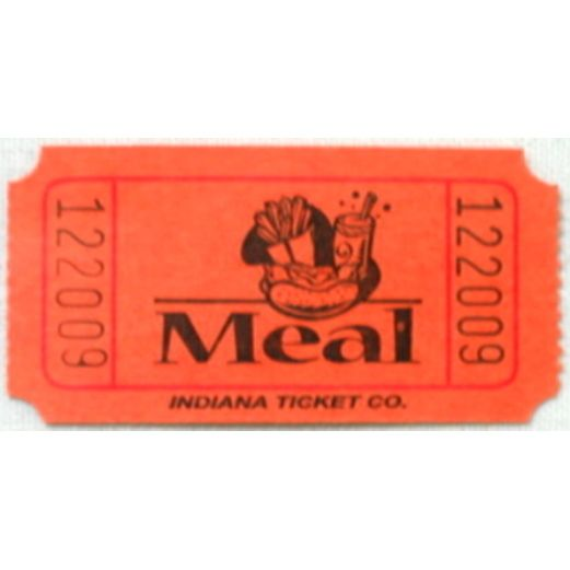 Tickets & Wristbands Orange Meal Ticket Roll Image