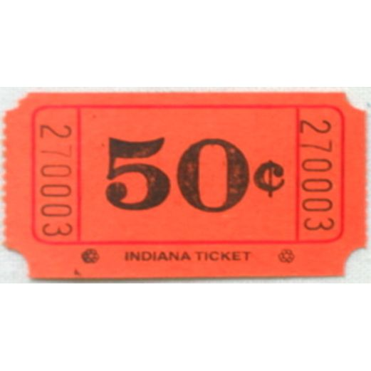 Tickets & Wristbands Orange 50 Cent Ticket Roll Image