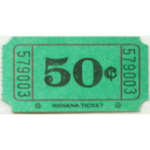 Tickets & Wristbands Green 50 Cent Ticket Roll Image